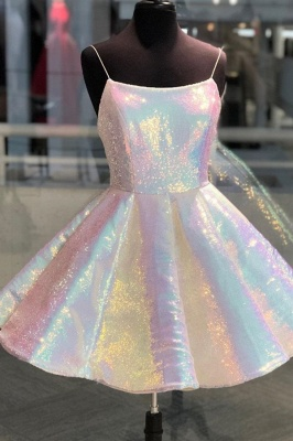 Sparkle Spaghetti Straps Sleeveless Sexy Short Homecoming Dresses | A Line Sequins Mini Cocktail Dress_1