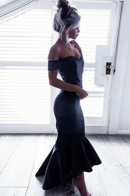 Short-Sleeves Off-The-Shoulder Black Mermaid Ruffle High-Low Chic Prom Dresses_2