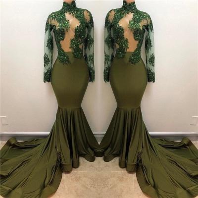 Mermaid Illusion Long Sleeve Gorgeous High Neck Long Prom Dresses Cheap_3