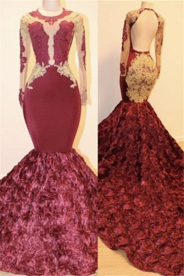 Open Back Gold Lace Burgundy Long Prom Dresses Cheap Plus Size | Mermaid Long Sleeve Formal Dresses for Juniors_2