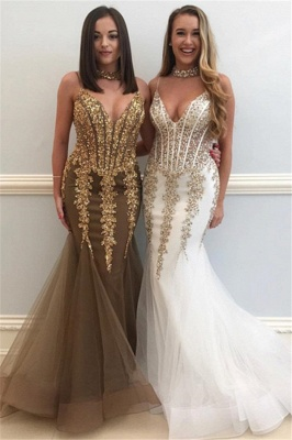 Sweetheart Spaghetti Golden Appliques Tulle Sexy Mermaid Prom Dresses_2