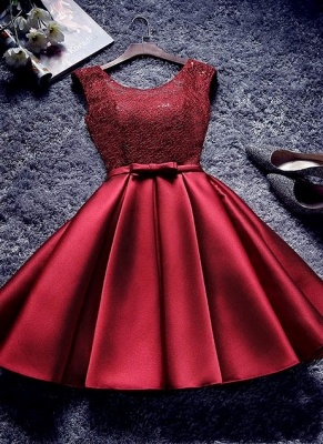 Bowknot Sash Lace-Up-Back Red Custom Made A-line Sexy Short Homecoming Dresses_2