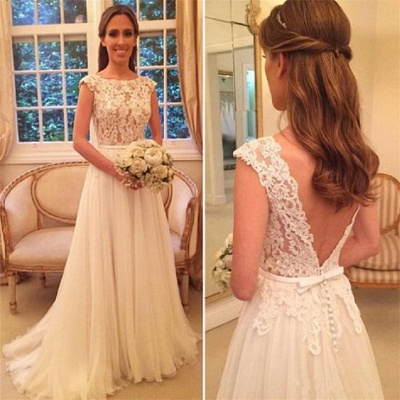 Lace Tulle Online-Back Elegant Button A-Line Wedding Dresses Cheap_3