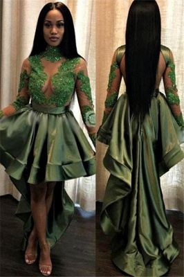 Long See Through Lace Long Sleeve Prom Dress | Cheap Hi-lo Dark Green Formal Dresses