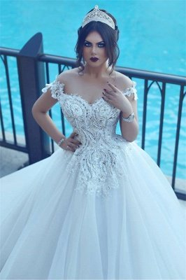 Crystal Off The Shoulder Elegant Appliques Tulle Ball Wedding Dresses Cheap Online_3
