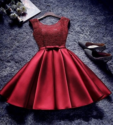 Bowknot Sash Lace-Up-Back Red Custom Made A-line Sexy Short Homecoming Dresses_3