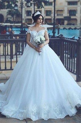 Crystal Off The Shoulder Elegant Appliques Tulle Ball Wedding Dresses Cheap Online_2