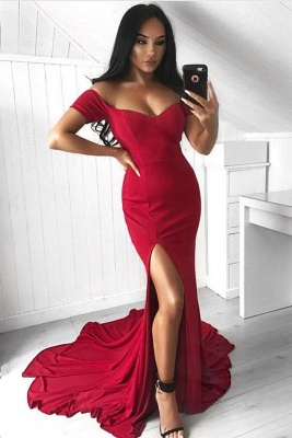 Mermaid Split Off-the-Shoulder Sexy Long Prom Dress_2