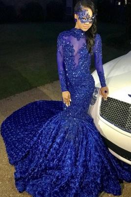 Sexy Flowers Royal Blue Prom Dress   Long Sleeve Prom Dress_1