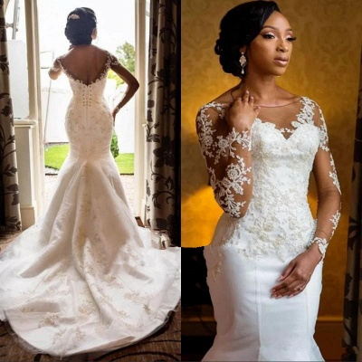 Charming Long Sleeve Lace Appliques  Mermaid Round Neck Wedding Dresses Cheap_3