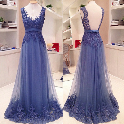 Lace Appliques Open Back Long Prom Dresses Cheap Custom Made A-line V neck Sash Bow Formal Evening Gowns_2