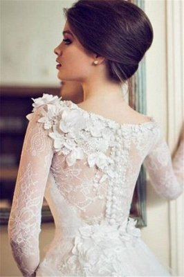 A-line Long Sleeves Floral Appliques Tulle Wedding Dresses_2