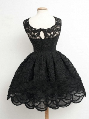 Knee Length Black Little Lace Dresses Sexy Short Homecoming Dresses_3