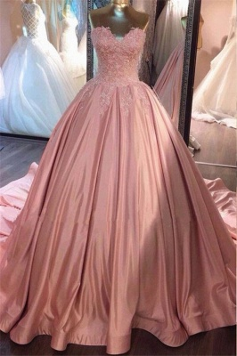 Strapless Lace Appliques Ball Gown Evening Dresses | Pink Quinceanera Dresses with Train BA8271_2