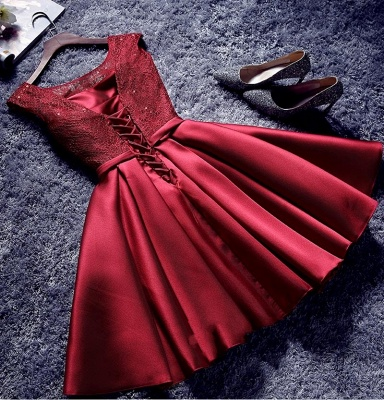 Bowknot Sash Lace-Up-Back Red Custom Made A-line Sexy Short Homecoming Dresses_4