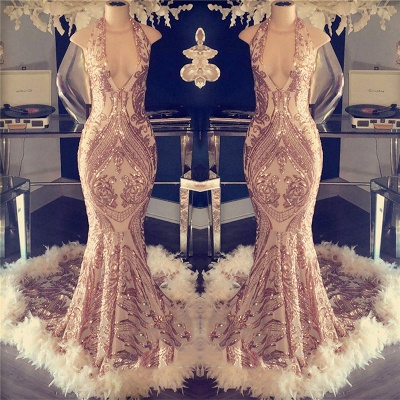 Halter V-neck Sparkling Appliques Long Prom Dresses Cheap | Sleeveless Formal Dresses with Feather BC1048_2