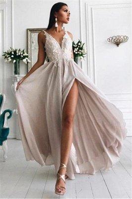 Sexy Slit V-neck Lace Chiffon Long Formal Dresses Cheap_1