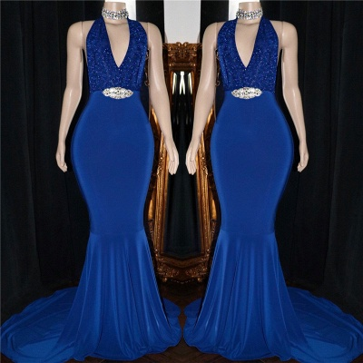 Royal Blue Formal Dresses with Crystals Belt  Halter Mermaid Sequins Long Prom Dresses Cheap_3