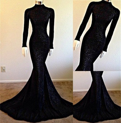 High Neck Long Sleeve Black Long Prom Dresses Cheap | Vintage Lace Mermaid Formal Evening Dress BA5158_3