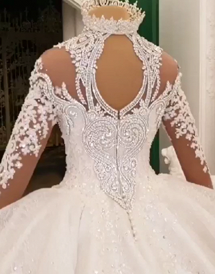 Gorgeous Crystalss Ball Gown Wedding Dresses with Sleeves | Sparkling Bridal Gowns with Cathedral Train_6