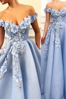 Glamorous Off-The-Shoulder Flower Appliques Sleeveless  Prom Dress_1