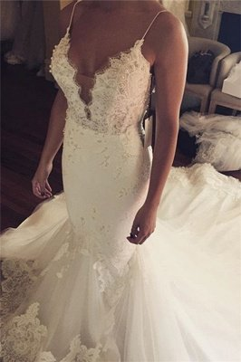 Tulle Sexy Spaghetti Straps Mermaid Elegant Lace Appliques Wedding Dress Cheap BA5042_2