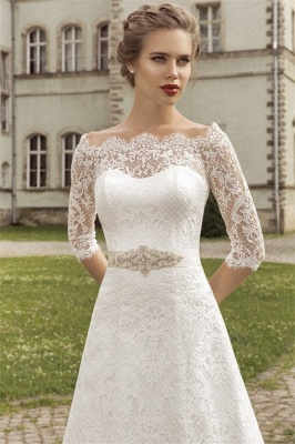 Royal Full Lace Bridal Gowns Half Sleeve A-line Wedding Dress with Crystal Sash VK036_3
