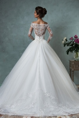 Lace Long Sleeves A-line Wedding Dresses Off-Shoulder Lace Applique Sheer Back Bridal Gowns_4