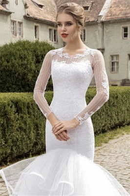 Sexy Organza Lace Appliques Wedding Dress Mermaid Long Sleeve Bridal Gowns_4
