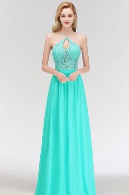 Keyhole Lace Chiffon Floor-Length Halter Long Bridesmaid Dress_7