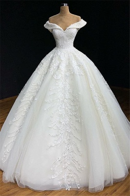 Elegant Off The Shoulder Appliques Sexy Ball Gown Wedding Dresses Cheap_1