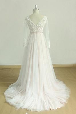 Elegante vestido de novia Aline de encaje de mangas largas blanco / marfil Vestido de novia largo hasta el suelo con cuello en V_3