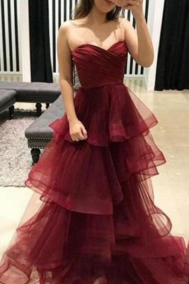 Stunning  Tiered Oganza Sweetheart Burgundy Long Prom Evening Dress_2