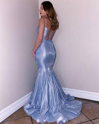 Spaghetti Straps Sparkling Blue Prom Dresses | Lace Up Mermaid Sleeveless Sexy Evening Gowns_2