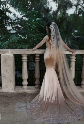 Gold Lace Appliques Two Piece Prom Dresses | Long Sleeve Mermaid Sexy Wedding Dress_3