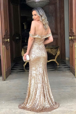 Off The Shoulder Sequins Evening Gowns Long | Sexy Side Slit Cheap Open Back Prom Dresses_2