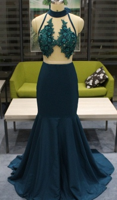 Beads Appliques Sexy Mermaid Prom Dresses Cheap | Sleeveless Sheer Back Cheap Evening Gowns with Bowknot_2