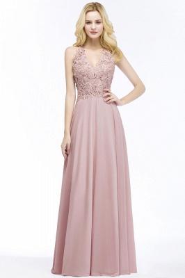 PAM   A-line V-neck Sleeveless Long Appliques Chiffon Bridesmaid Dresses_2