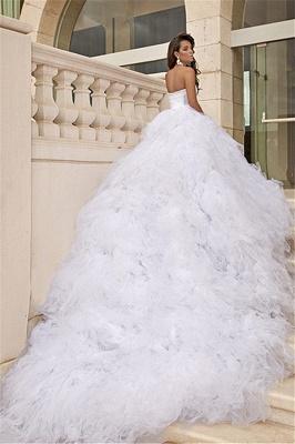 Tulle White Sweetheart Wedding Dresses Chapel Train Sleeveless Bridal Dreses_1