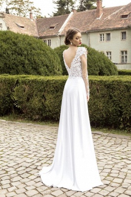 Most Popular Lace Chiffon Bridal Dress Appliques Side Slit Long Sleeve Sweep Train Wedding Dress_3