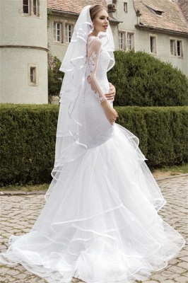 Sexy Organza Lace Appliques Wedding Dress Mermaid Long Sleeve Bridal Gowns_3