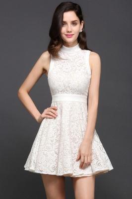 Mini vestidos en existencia lindos de noche de una línea Vestidos de fiesta cortos de cuello alto_2