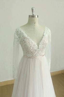 Elegante vestido de novia Aline de encaje de mangas largas blanco / marfil Vestido de novia largo hasta el suelo con cuello en V_4