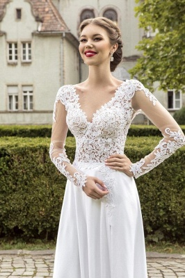 Most Popular Lace Chiffon Bridal Dress Appliques Side Slit Long Sleeve Sweep Train Wedding Dress_2