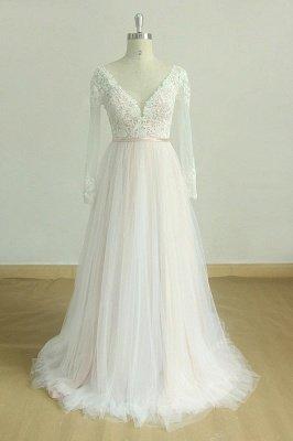 Elegante vestido de novia Aline de encaje de mangas largas blanco / marfil Vestido de novia largo hasta el suelo con cuello en V_1