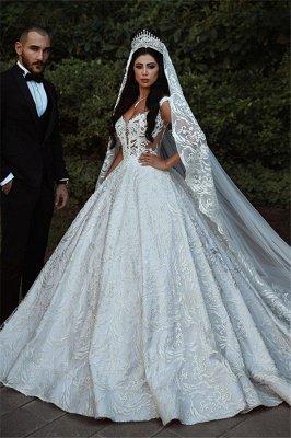 Elegant Lace Straps Wedding Dresses   2019 Luxury Open Back Sleeveless Bridal Gowns_2