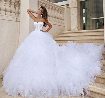 Tulle White Sweetheart Wedding Dresses Chapel Train Sleeveless Bridal Dreses_2