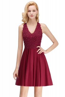 NONA | A-line V-neck Sleeveless Short Appliques Chiffon Homecoming Dresses_2