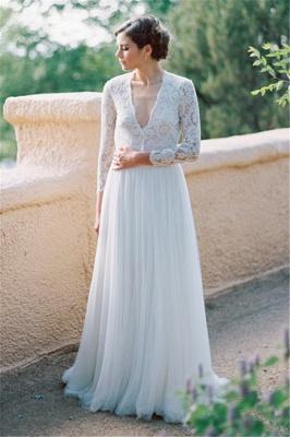 V-Neck Lace Long Sleeve Vintage Bridal Gown Latest Floor Length Custom Made Wedding Dress_1