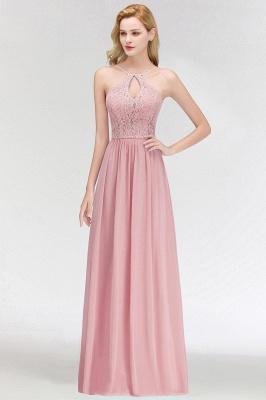 Keyhole Lace Chiffon Floor-Length Halter Long Bridesmaid Dress_2